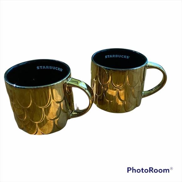 Starbucks 2019 Golden Mermaid Scales coffee cup set
